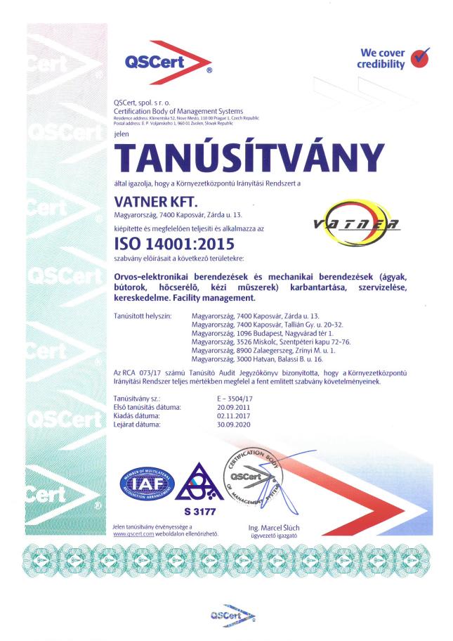 Tanúsítvány ISO 14001-2017_2020