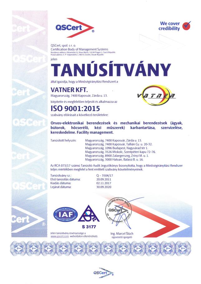 Tanúsítvány ISO 9001-2017_2020