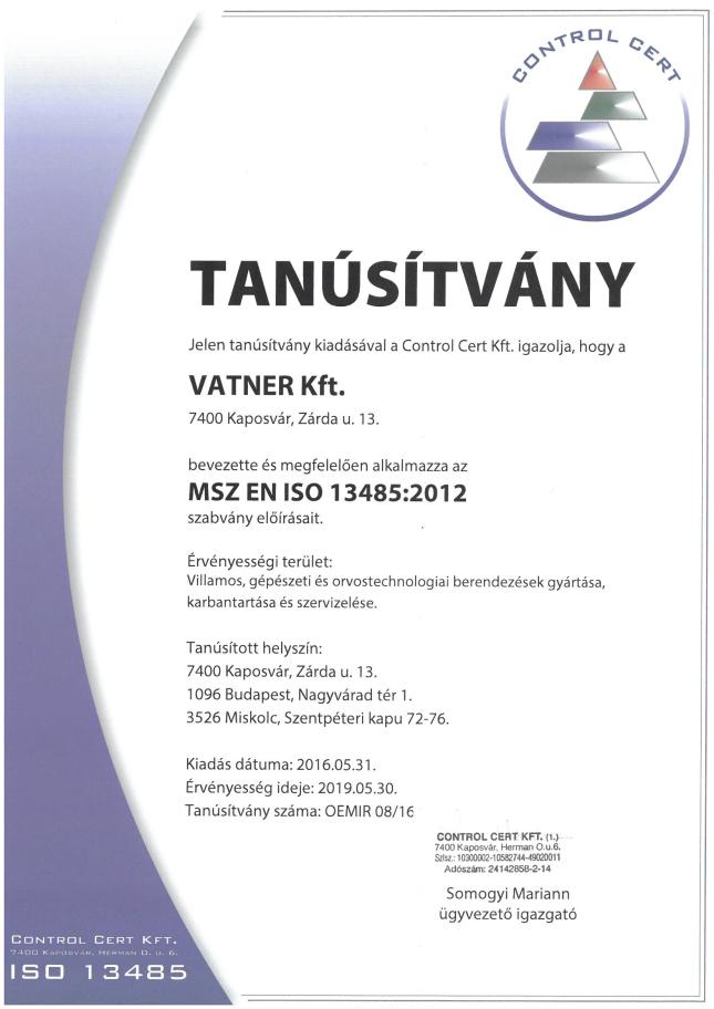 Tanúsítvány MSZ EN ISO 13485-2016_2019