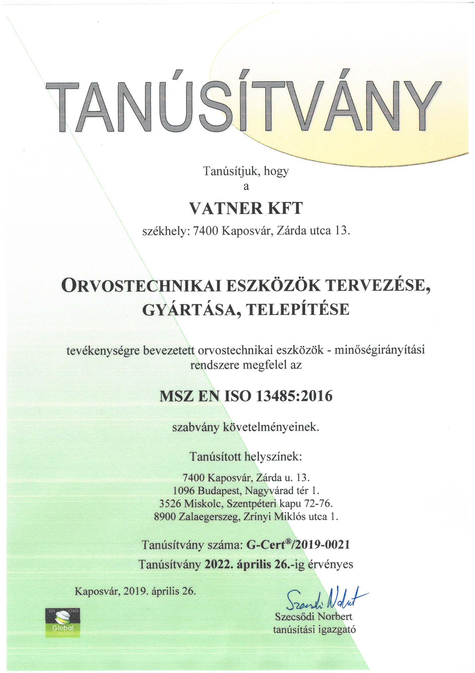 Tanúsítvány MSZ EN ISO 13485:2016